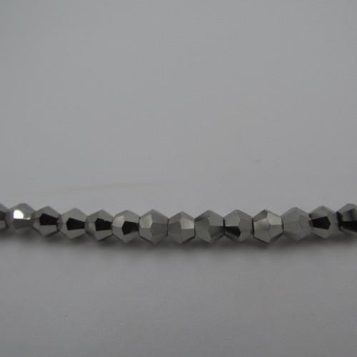 4mm Silver Thunder Polish Crystal Bicones