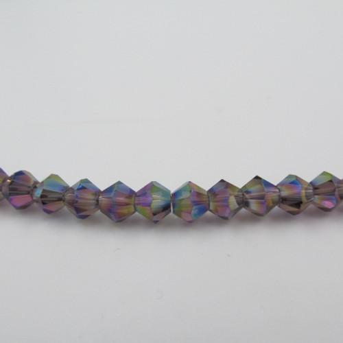 Violet AB 6mm Thunder Polish Bicone Crystals 8733