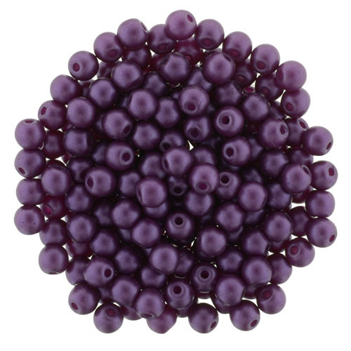Purple Velvet 4mm Glass Round Pearls