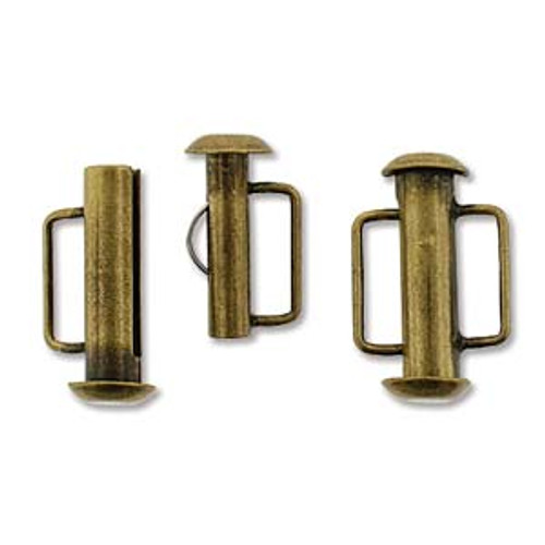 16.5mm Antique Brass Slide Bar Clasp 1159