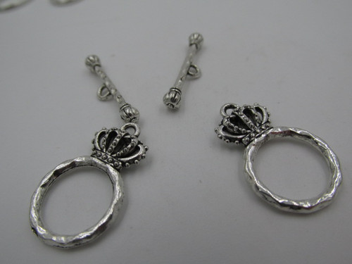 15x4.5mm Crown Silver Plated Toggle (2 Sets) 4087