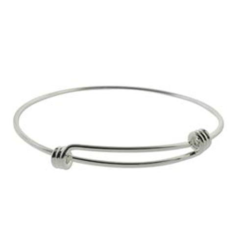 Expandable Wire Charm Bracelet Silver