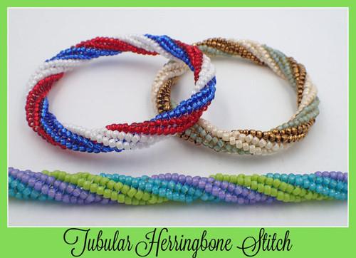 Red/White/Blue Tubular Twisted Herringbone Sitich Bracelet Kit