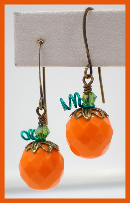 Opaque Orange Pumpkin Earring Kit