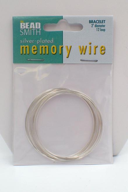 2 1/2 diameter 12 loop Memory Wire Silver Plated