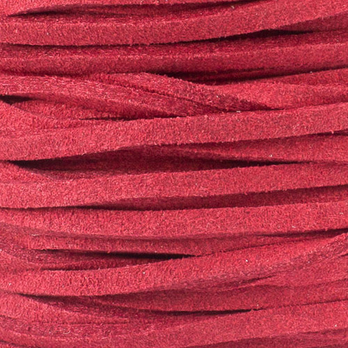 1.5mm Thick 2mm Wide Red Microsuede Cord