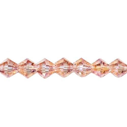 4mm Light Peach AB Thunder Polish Crystal Bicones
