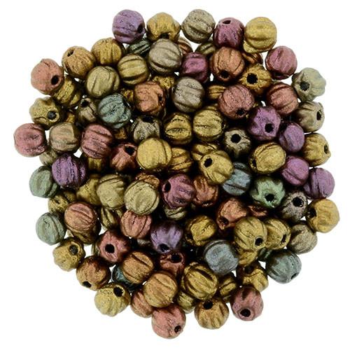 3mm Melon Beads - Metallic Bronze Iris (100 Beads)