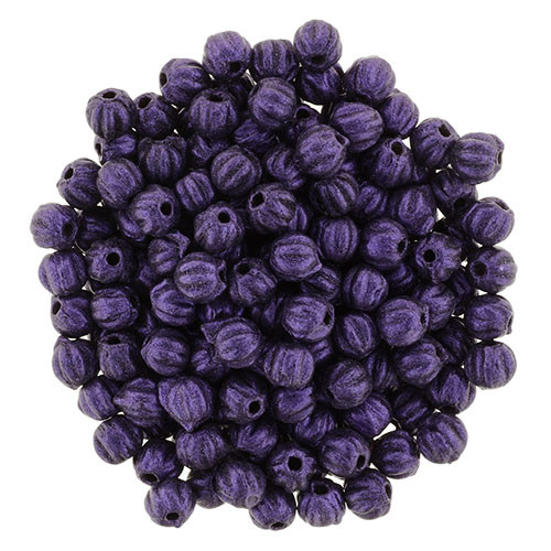 3mm Melon - Metallic Suede Purple (100 Beads)