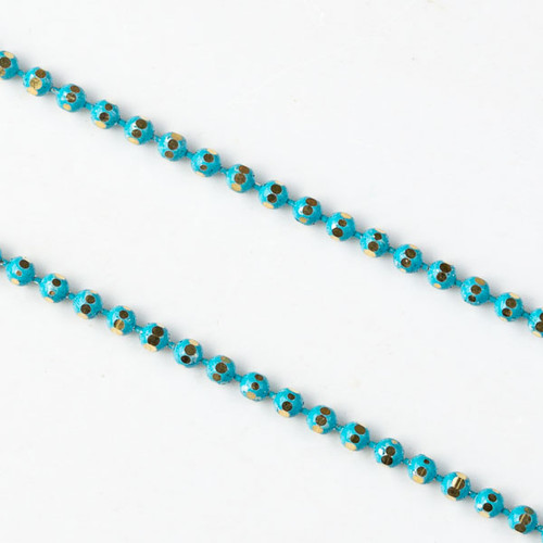 Turquoise Blue & Gold 1.5mm Ball Chain - Per Foot