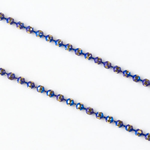 Cobalt Blue & Gold 1.5mm Ball Chain - Per Foot
