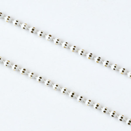 White & Gold 1.5mm Ball Chain - Per Foot
