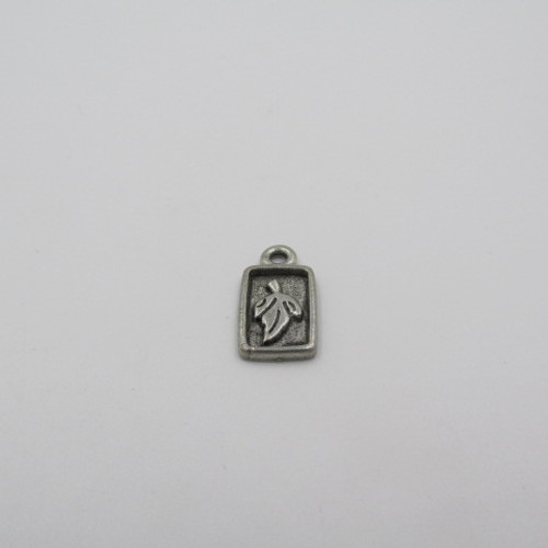 Framed Leaf Pewter Charm 4401