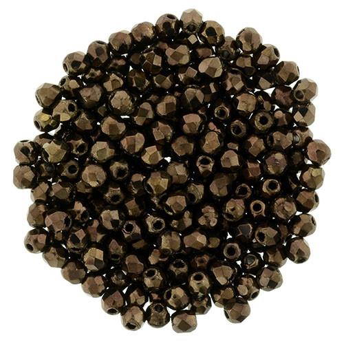 2mm Dark Bronze Fire Polish Beads - 50pk