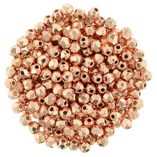 2mm Copper Penny Fire Polish Beads - 50pk