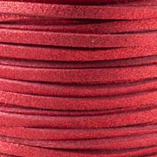 1.5mm thick 2mm wide red glitter microsuede cord