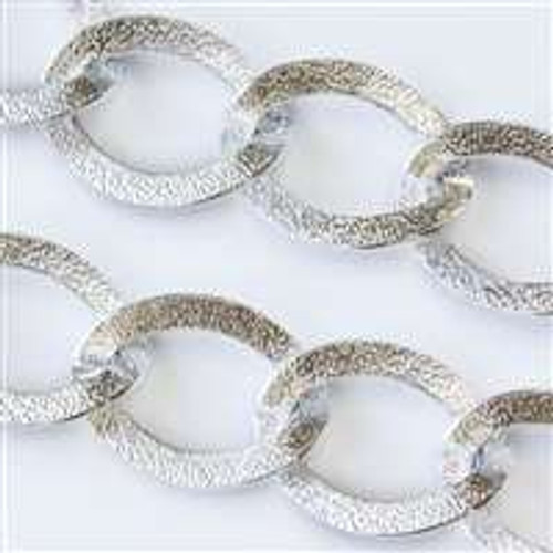 23x32mm Flat Textured Open Oval Links Aluminum Chain Silver Sold Per foot