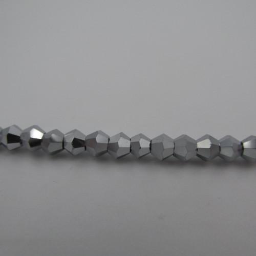4mm White Gold Thunder Polish Crystal Bicones