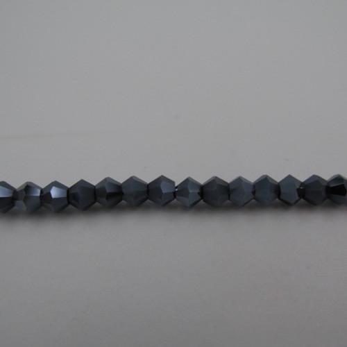 4mm Gunmetal Thunder Polish Crystal Bicones
