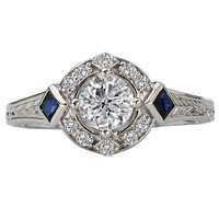 14KW PET ENGRVD DIA/SAPPH RINGD1/2CT,S1/6CT, INCL 3/8CT RD