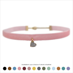 Heart Choker, Pave Crystal & Gold - Velvet or Leather