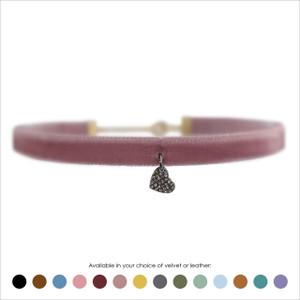 Heart Choker, Pave Crystal & Hematite - Velvet or Leather
