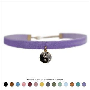 Yin Yang Choker, Pave Crystal & Gold - Velvet or Leather