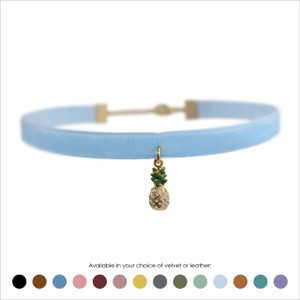 Pineapple Choker, Pave Crystal & Gold - Velvet or Leather