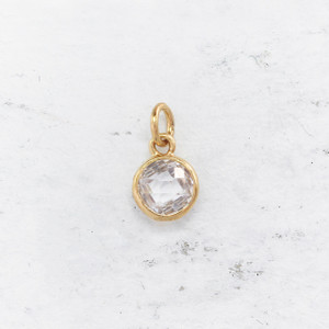 JW00206 Birthstone Synthetic Diamond Crystal  - Charm Pendant - Wildflower.Co - Main