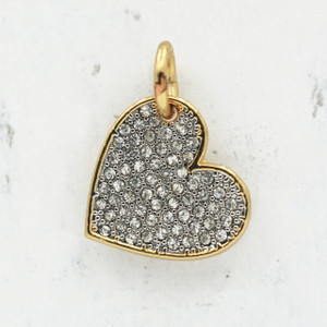 JW00030 Pave Crystal Heart Charm Pendant - Gold - Wildflower.Co - Main