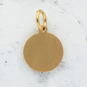 JW00058 Brushed Disc Charm Pendant - Brushed Gold - Wildflower.Co - Main