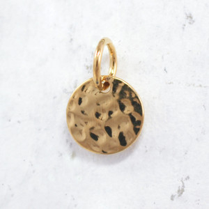 JW00097 Hammered Medallion Charm - Gold- Wildflower.Co - Main
