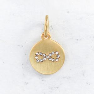 JW00155 Infinity Charm Pendant - Brushed Gold Pave - 1Main