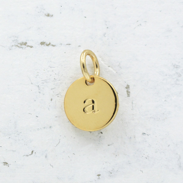 Mini initial disc charm gold a wildflower co jw00123 dainty gold initial charm pendant letter a diy initial charm necklace bracelet gold aloadofball Images