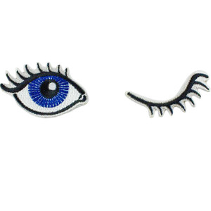 Winking Eyes Patch Patches - Iron On Patch - Embroidered Patch - Girly Flirty
