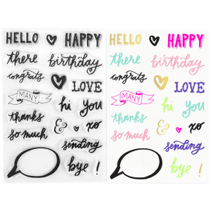 Design Your Own Greeting Cards - Clear Stamps - Hello Thank You Happy Birthday- Stamping & Papercraft Supplies - Wildflower + Co.