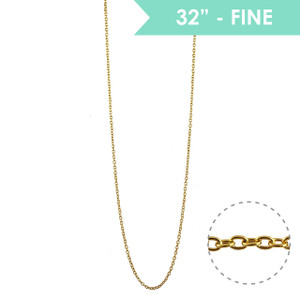 """Fine Chain 32"""" Long Necklace, Gold - Wildflower + Co."""