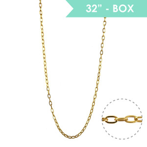 "Box Chain 32"" Long Necklace, Gold - Wildflower + Co."