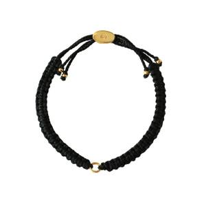 Macrame Friendship Charm Bracelet Black Gold - Wildflower + Co.