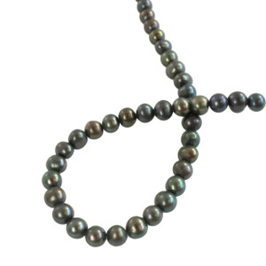 "Freshwater Pearl Beads - Black - 6 x 5 MM - 8"" Strand"