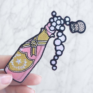 Rose Champagne Wine Embroidered Patch Patches Applique (2) Lips Tongue Patch Applique Closeup EDIT - Wildflower Co
