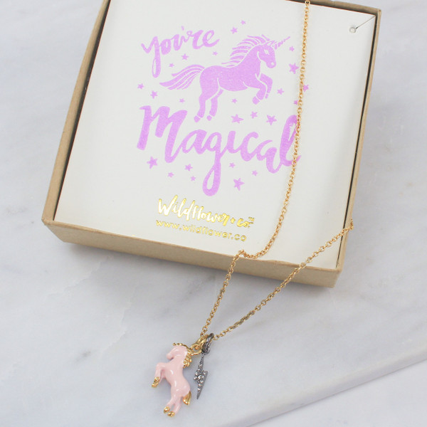 Unicorn Necklace - Charm - Pink Unicorn Gold - You're Magical Unicorn Card - Wildflower Co - Main