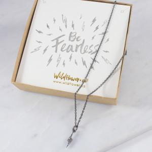 Tiny Lightning Bolt Necklace - Thunder Bolt - Spark – Black Diamond Crystal Pave & Hematite - Personalized Jewelry