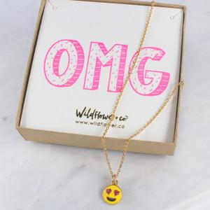 Heart Eyes Emoji Necklace - Personalized Jewelry - Wildflower Co