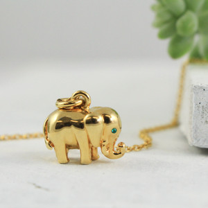 Elephant Charm Pendant Necklace - Gold -Wildflower.Co - Main