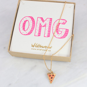 Pizza Necklace – Pepperoni Slice - Gold – Personalized Jewelry - Wildflower Co