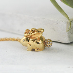Bunny Rabbit Necklace, Gold