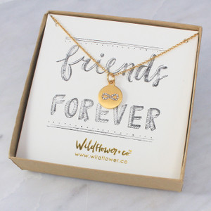 Infinity Necklace - Friendship – Love - Dainty Gold & Pave Medallion - Personalized Jewelry - Wildflower Co