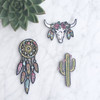 Longhorn Iron On Patch Embroidered - Floral Cow Skull - Bull - Wildflower Co - Main