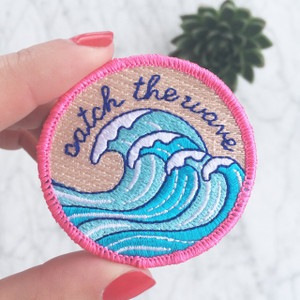Surf - Wave - Iron On Patch - Embroidered - Wildflower Co.
